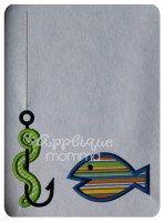 Fish and Worm Applique Design