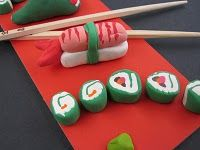 Sushi made with Crayola Model Magic. Great for multicultural day.