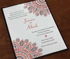 The henna and mandala look for this invitation stands out with the second paper layer. Wamil | Invitations By Ajalon | www.invitationsbyajalon.com