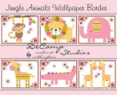Pink Jungle Animals Wallpaper Border wall art decals for baby girl nursery ideas or children's floral room decor. Monkey, Lion, Elephant, Zebra, Alligator, and Giraffe #decampstudios