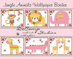 Pink Jungle Animals Wallpaper Border wall art decals for baby girl nursery ideas or children's floral room decor. Monkey, Lion, Elephant, Zebra, Alligator, and Giraffe #decampstudios