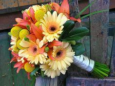 Orange lily and yellow gerbera daisy #bouquet via Stems flower Shop.