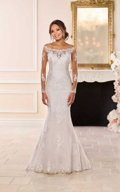 Off-the-shoulder wedding dress with lace sleeves Stella York Wedding Gowns Long lace sleeves have never looked so good! The designer Stella York is inspired by a traditional wedding dress, but gi. Lace Back Wedding Dress, Wedding Dress Organza, Western Wedding Dresses, Wedding Dress Sizes, Long Sleeve Wedding, Perfect Wedding Dress, Bridal Dresses, Lace Dress, Prom Dresses