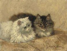 Deux chats de repos Henriette Ronner-Knip Huile sur panneau 1893 Collection privée
