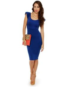 Trendy padded cap sleeves make a great lift-off for the Space Race Midi Royal Blue Dress that has a scoop neckline, and a sexy plunging back. Cobalt Blue Dress, Royal Blue Dresses, Young Professional Fashion, Cute Dresses, Dresses For Work, Midi Dresses, Business Casual Outfits, Pretty Outfits, Blue Outfits