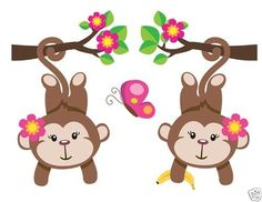 Pretty Pink Hanging Monkeys Wall Art Mural Decal for baby girl nursery or kids room decor. This adorable mural of two girl monkeys hanging from branches #decampstudios