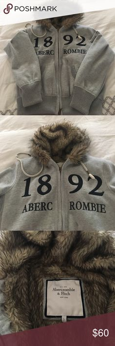 Abercrombie & Fitch Grey Zipper Hoodie Never worn Abercrombie & Fitch Grey Furry Zip-up hoodie. Abercrombie & Fitch Sweaters Crew & Scoop Necks
