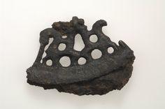 Fire steel.  Iron and bronze.  The fire steel has an openwork bronze casting that depicts equestrian figures.  Grave find, Björkö, Adelsö, Uppland, Sweden.  SHM 34000:Bj 776