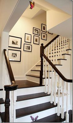 Well Designed Home By Angie Gren Love the contrast of dark wood versus white trim on these stairs.<br>