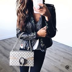 Fall style, leather jacket, moto jacket, embroidered jacket, gucci bag, gucci dionysus