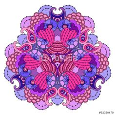 Вектор: Purple-pink mandala on white background.