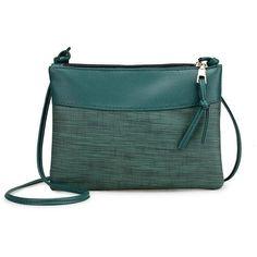 Women's Designer Leather Messenger Bag ($8.50) ❤ liked on Polyvore featuring bags, messenger bags, zipper messenger bag, leather bags, green bags, leather strap bag and zip messenger bag