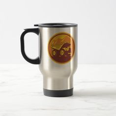 Mining Dump Truck Retro Travel Mug. Easy to customize travel mug with an illustration of a mining dump truck viewed from side set inside a circle done in retro style on isolated background. #dumptruck #miningtruck #travelmug