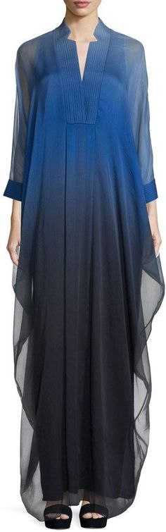 Halston 3/4-Sleeve Ombre Caftan Gown, Wisteria