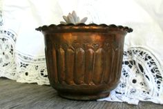 Vintage Copper Embossed Planter French Country by WeeLambieVintage, $20.00