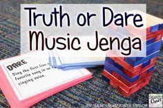 Truth or Dare Music Jenga: Organized Chaos. Fun center activity for elementary music (or for older kids too! Easy to put together with just a few supplies. Use the pre-made cards or make your own to fit any skill or concept students are working on in cl Music Activities For Kids, Music Lessons For Kids, Music Lesson Plans, Piano Lessons, Elementary Music Lessons, Singing Lessons, Elementary Schools, Senior Activities, Primary Lessons