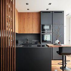 Kitchen Room Design, Kitchen Sets, Modern Kitchen Design, Living Room Kitchen, Interior Design Kitchen, Grey Kitchens, Home Kitchens, Modern Kitchen Lighting, Küchen Design