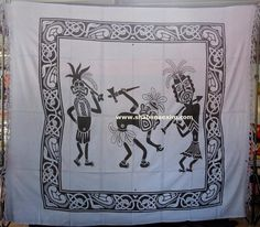 Three African Man Dancing Tapestry Hippie Wall Hanging africa tribe prints Product Id:: 3052 Size:: 150X220cm, 210X240 cm, Material:: 100% Cotton Design:: Printed Colors:: Any Custom Color
