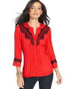 NY Collection Lace-Trim Crepe Blouse