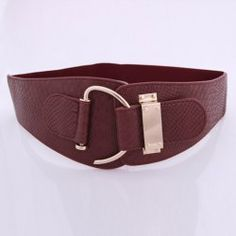 Fashion Texture Embellished Wide Leather Belt For Women