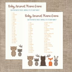 Baby Shower Game Woodland Animals Baby Name Game