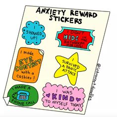 Anxiety award stickers that read: I showed up! I didn't hid in the bathroom (for too long). I survived a panic attack. I was kind to myself today. I made a phone call. I made eye contact with a cashier. Mental Health Humor, Mental Health Recovery, Positive Mental Health, Mental Health Awareness, Social Anxiety, Anxiety Relief, Anxiety Tips, Mindfulness, Stickers