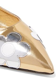 Heel measures approximately 10mm/ 0.5 inches Gold and silver mirrored-leather, black and white patent-leather Slip on Made in ItalyLarge to size. See Size & Fit notes.