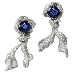 Cindy Chao Blue Sapphire and Diamond Earrings