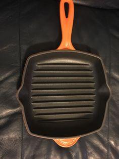 le creuset square skillet grill pan 20 flame orange made in france lecreuset