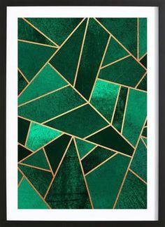 Emerald and Copper - Elisabeth Fredriksson - Affiche sous cadre en bois