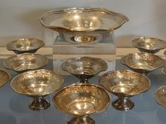 Antique Sterling Silver Nut Dish Set Master + 12 from antiquarianhome on Ruby Lane