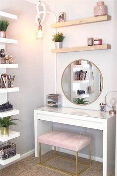 36 Most Popular Makeup Vanity Table Designs 2019 - WG-Zimmer - Furniture Makeup Table Vanity, Vanity Room, Vanity Ideas, Diy Vanity Table, Makeup Tables, Small Bedroom Vanity, Makeup Desk, Teen Vanity, Makeup Rooms