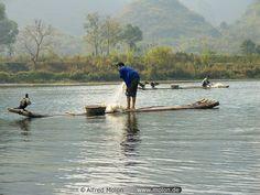 07 Fishermen with cormorant on bamboo boat,  Li river, Guilin, China