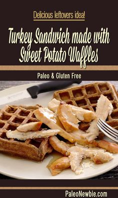 Easy after Thanksgiving meal...pile your leftovers on these awesome Sweet Potato Waffles and enjoy! Paleo and gluten-free.