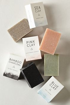 Gorgeous Herbivore botanicals clay soap bars and packaging from Anthropologie. Soap Packaging, Pretty Packaging, Beauty Packaging, Brand Packaging, Packaging Design, Branding Design, Soap Labels, Packaging Inspiration, Design Inspiration