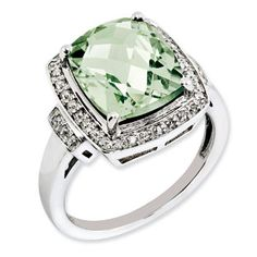 Cushion Checkerboard Cut Green Quartz Diamond Sterling Silver Ring Available Exclusively at Gemologica.com