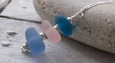 Sea Glass Stack Sterling Silver Necklace by SeahamWaves on Etsy, £25.00