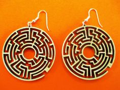 Labyrinth wooden earrings