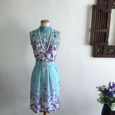 Floral Print High Neckline Chiffon Dress (Size XL) on Carousell