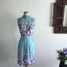 Floral Print High Neckline Chiffon Dress (Size XL) on Carousell