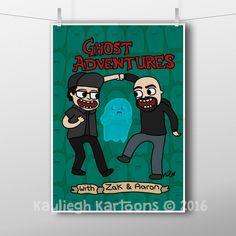 Ghost adventures, illustration, art print, Zak Bagans, Aaron Goodwin, adventure time, ghosts, paranormal, fan art, ghost adventure print, GA by KaylieghKartoons on Etsy