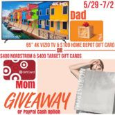 65 TV $100 Home Depot Gift Card $400 Nordstrom and $400 Target Gift Cards or $600 Cash Giveaway  Open to: United States Canada Ending on: 07/02/2018 Enter for a chance to win one of three prize packs of your choice. Dad prize pack: Vizio 65 4k Smart TV Mom prize pack: $400 Nordstrom & $400 Target Gift Cards or $600 PayPal Cash. Enter this Giveaway at Its Our Fab Fash Life  The post 65 TV $100 Home Depot Gift Card $400 Nordstrom and $400 Target Gift Cards or $600 Cash Giveaway appeared first…