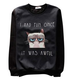 7eee7aebc30 So many funny cat print long sleeve Sweatshirt. Please use the size chart.  These