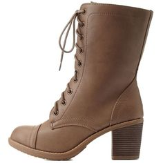 Wild Diva Lounge Lace-Up Chunky Heel Combat Boots ($43) ❤ liked on Polyvore featuring shoes, boots, ankle booties, calçado, taupe, chunky booties, mid calf combat boots, military boots, combat booties and chunky heel ankle booties
