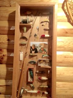Shadow box to display antique lures