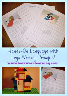 We got to try some adorable LEGO writing prompts from Great Peace Academy that allowed the kids to build LEGO constructions and write stories! Lego Activities, Writing Activities, School Library Lessons, Kindergarten Writing Prompts, Lego Club, Lego For Kids, Story Starters, Letter Formation, Fun Learning