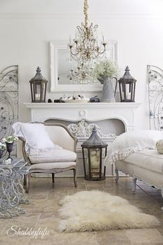 Love the Lanterns on the Mantle and the combination of textures in this room