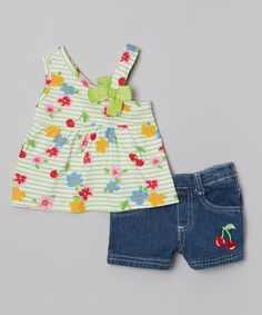 Another great find on #zulily! Green Floral Tank & Dark Blue Denim Shorts - Infant by Young Hearts #zulilyfinds