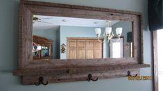 barnwood mirrors | Barnwood Window Mirror with Shelf & Hooks by MikesBarnwoodDecor