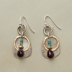 """CIRCLES AND STONES EARRINGS--Mixed metals—24kt gold plate, brass and sterling silver—mingle with turquoise and garnet. Sterling wires. USA. Exclusive. 1-1/2""""L."""